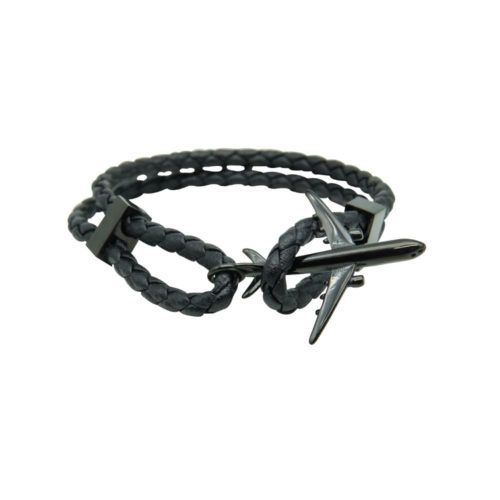#GO-AROUND PULSERA DE CUERO NEGRO