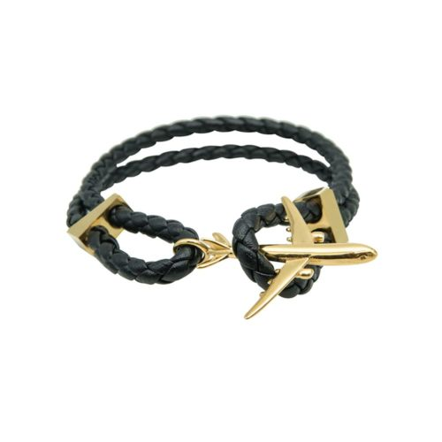 #GO-AROUND PULSERA DE CUERO ORO
