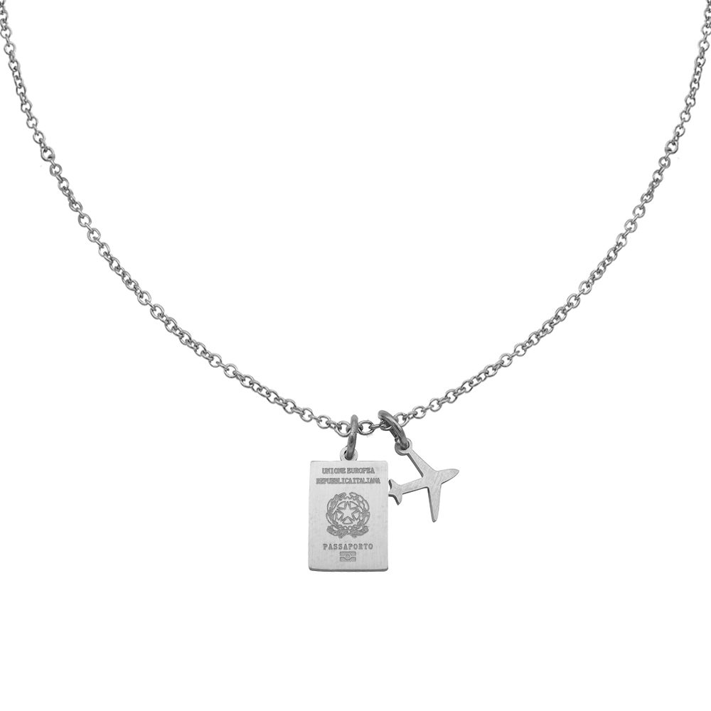 Italy Passport Travel Necklace Silver