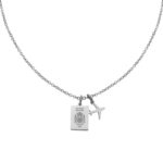Spain Passport Travel Necklace Silver