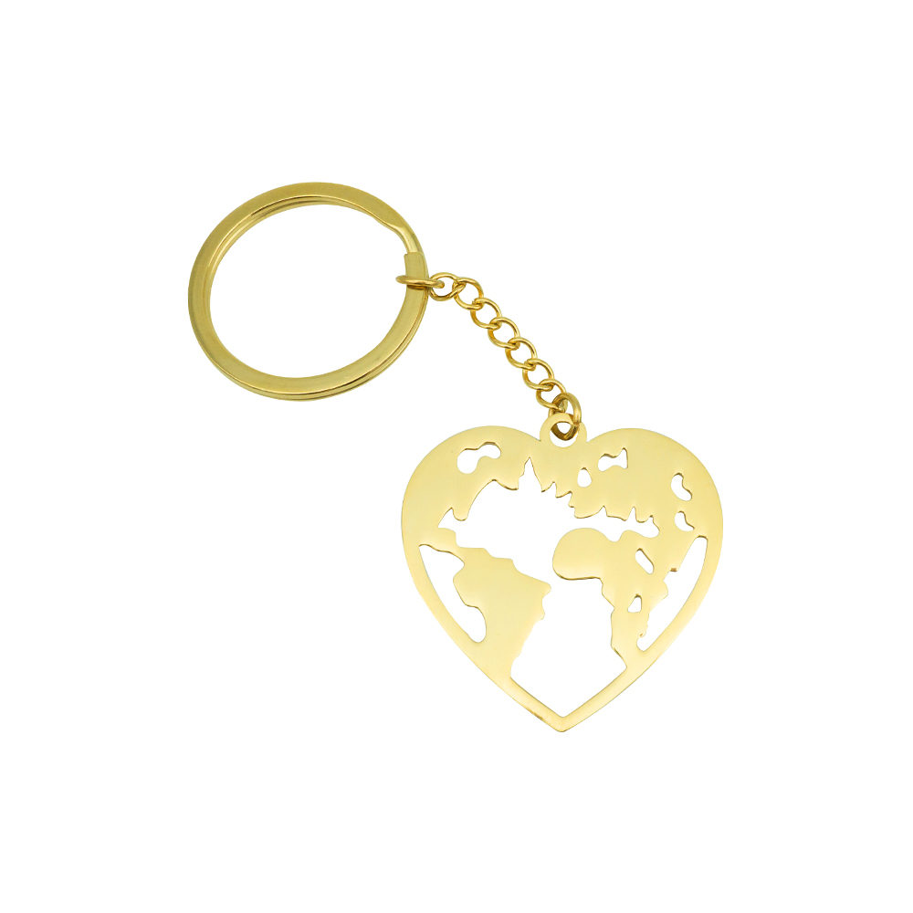 Wanderlust World Map Keychain Gold